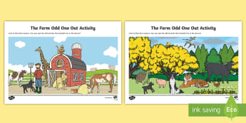 The Farm - Odd One Out Aistear Activity Sheet  - Aistear, Infants, Oral Language, Activity Sheet, The Farm, Odd One Out, Irish, early years, farm, ti