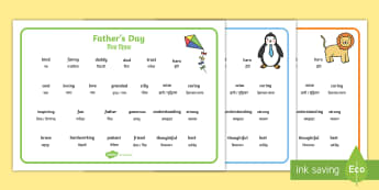 Father's Day Descriptive Word Mat English/Hindi - Fathers Day Descriptive Word Mats - fathers day, fathers day word mat, fathers day key words, father