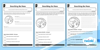 Describing the Moon Differentiated Activity Sheets - Planit English, Space, Whatever Next, The Moon, Descriptive Writing, Adjectives, Story Settings, Set