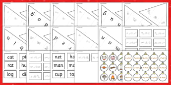 Christmas Tree CVC Words Activity with British Sign Language