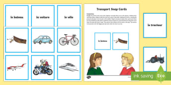 Transport Snap Card Game French - French Games, french transport, french vehicles, french card games, french snap.,Scottish-translatio