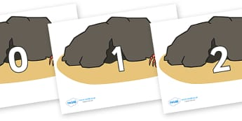Numbers 0-50 on Caves - 0-50, foundation stage numeracy, Number recognition, Number flashcards, counting, number frieze, Display numbers, number posters