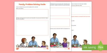 Family Problem-Solving Activity Sheet - solution focused, family support, young people, managing issues, Breakdown