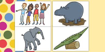 Story Cut Outs to Support Teaching on The Enormous Crocodile - the enormous crocodile cutouts, the enormous crocodile, cutouts, roald dahl cut outs, cut outs