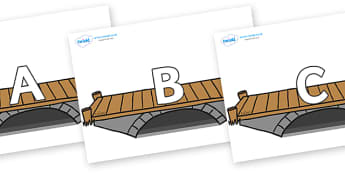 A-Z Alphabet on Bridges - A-Z, A4, display, Alphabet frieze, Display letters, Letter posters, A-Z letters, Alphabet flashcards
