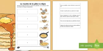 Shrove Tuesday Recipe Cut and Stick Activity Sheet - festivities, celebration, events, France, World, festival, pancakes