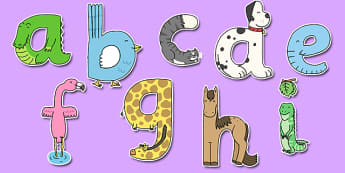 Lower Case Animal Alphabet Display Lettering - display lettering, animal, alphabet