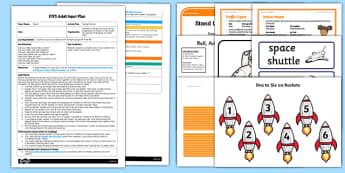EYFS Racing Rockets Adult Input Plan and Resource Pack - space, rockets, planets, pe, physical development, maths, counting, numerals to 10