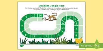 Doubling Jungle Race Worksheet / Activity Sheet - Requests KS1, maths, doubles, double, x 2, 2 times table, race, maths game, jungle, monkeys