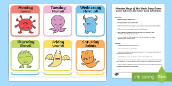 Monster Days of the Week Snap Game English/Italian - Monster Days of the Week Snap Game - monster, days of the week, snap game, snap, game, activity,days