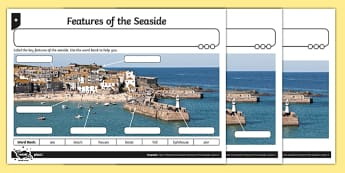 Features of the Seaside Differentiated Worksheet / Activity Sheets, worksheet