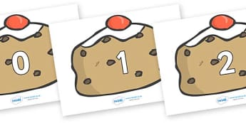 Numbers 0-31 on Buns - 0-31, foundation stage numeracy, Number recognition, Number flashcards, counting, number frieze, Display numbers, number posters