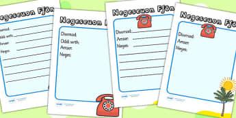 Travel Agents Telephone Message Sheets Welsh Translation - props