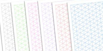 Isometric Grid Template - isometric pattern, isometric pages, isometric patterned pages, isometric template, maths grid pattern, maths grid, ks2 numeracy