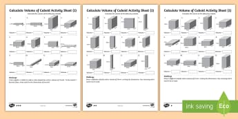 Year 6 Calculate Volume of Cuboids  Differentiated Activity Sheets - box, swimming pool, cube, cuboid, volume - box, swimming pool, cube, cuboid, volume