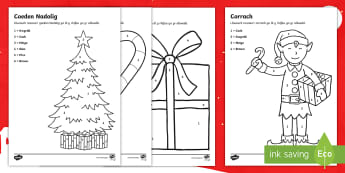 Christmas Colour By Number Activity Welsh - Christmas, colour, number, Nadolig, lliwio, rhifo, corrach, sled, coeden Nadolig