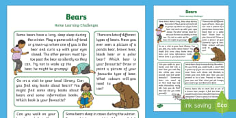 Bears Home Learning Challenges Reception FS2 - Early Years, Foundation, Home school links, homework, parents, panda bear, polar bear, brown bear, b