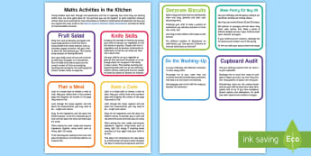 Kitchen Maths for Young Children Flashcards - mathematics, number, measure, eyfs, early years, home, family, parents