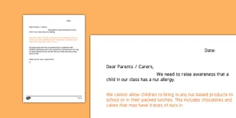 Editable Nut Allergy Letter to Parents Template - nut allergy, letter, parents, template
