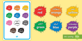 Colour Names on Splats Display Poster Arabic/English -  black, white, red, green, blue, yellow, orange, purple, pink, brown, colour splodges, painting, EAL