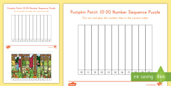 Pumpkin Patch 10-20 Number Sequencing Puzzle - fall, autumn, fall puzzle, autumn puzzle,