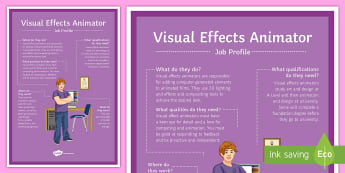 Visual Effects Animator Job Profile A4 Display Poster - jobs, career, job profile, salary, description, inspiration, options evening, display, future