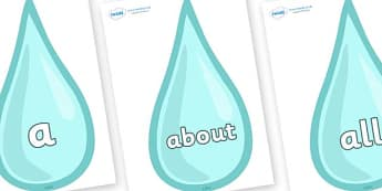 100 High Frequency Words on Water Drops - High frequency words, hfw, DfES Letters and Sounds, Letters and Sounds, display words