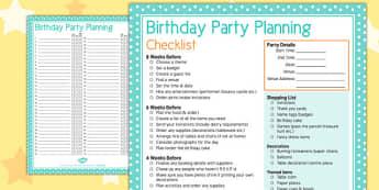 Birthday Party Planning Checklist - birthday, party, planning