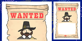 Guy Fawkes Wanted Poster - gunpowder plot wanted posters writing frames, Bonfire, Fireworks Night, Guy