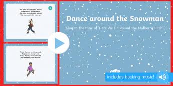 Dance Around the Snowman Song PowerPoint - The Snowman, Raymond Briggs, Christmas, winter, snowman, snowmen