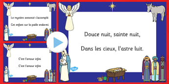 Silent Night Christmas Carol Lyrics PowerPoint French - french, silent night, christmas carol, lyrics, powerpoint