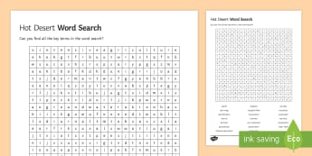 Hot Deserts Word Search - glossary, key terms, living world, ks4, gcse