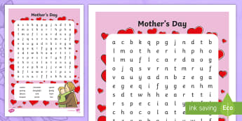 Mother's Day Word Search - ROI, Mother's Day, Lá na Máithreacha, Word Search, Irish, Key vocabulary.,Irish