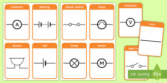 Electric Circuit Symbol Flashcards - Electric Circuit Symbol Flashcards - Electric, circuit, worksheet, safety, safe, sign, card, card, p