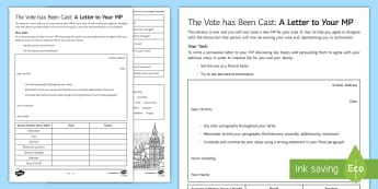 The Vote Has Been Cast: A Persuasive Letter to Your MP Activity Sheet - persuasive writing, persuasive, MP, vote, election, letter, formal letter, KS3 persuasive writing, K