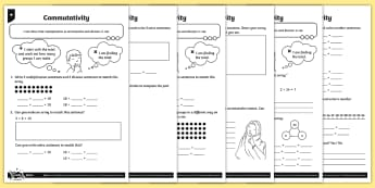 Explaining Commutativity Differentiated Activity Sheets - Multiplication and Division, number line, part whole diagram, writing multiplication and division st
