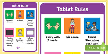 Tablet Rules Display Posters - ipad rules, tablet, display poster, ipad poster, poster for ipad rules, rules posrer, poster to display rules, poster for display