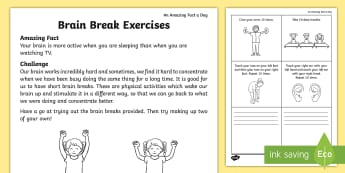 Brain Break Exercises Activity Sheet - Amazing Fact Of The Day, activity sheets, amazing fact a day april, Worksheet, powerpoint, starter,
