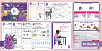 The Journey to Cursive: The Letter 'z' (Zigzag Monster Family Help Card 1) KS1 Activity Pack -  Nelson handwriting, penpals, fluent, joined, legible, handwriting, letterjoin, handwriting interven