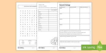 Season's Eatings Differentiated Activity Sheet - seasonable, fruits, vegetables, abundance, home grown, sustainable, Food Preparation, nutrition