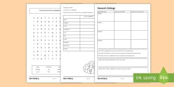 Season's Eatings Differentiated Worksheet / Activity Sheet - seasonable, fruits, vegetables, abundance, home grown, sustainable, Food Preparation, nutrition