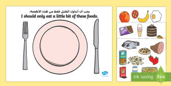 Healthy Eating Sorting Activity Arabic/English - EAL game, food groups, lifestyle, nutrition, translation