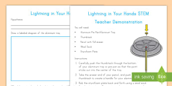 Lightning in Your Hands Teacher Demonstration STEM Activity - lightning, weather, static electricity, electricity, experiment, investigation