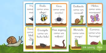 Tarjetas para moverse como los bichos - libélula, abeja, caracol, hormiga, típula, escarabajo, mariposa, oruga, gusano, mariquita, cochini