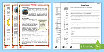 KS1 Al-Hijra Differentiated Reading Comprehension Activity - Questions, Mohammad, Islam, Muslim, New year