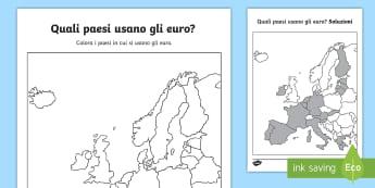 Quali paesi usano gli euro? Attività - educazione, civica, geografia, europa, italiano, italian, materiale, scolastico