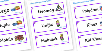 Amethyst Themed Editable Construction Area Resource Labels - Themed Construction resource labels, Label template, Resource Label, Name Labels, Editable Labels, Drawer Labels, KS1 Labels, Foundation Labels, Foundation Stage Labels