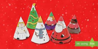 Crăciun Marionete în formă de con - Crăciun, activități manuale, jucării de crăciun, joc de rol