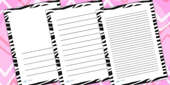 Zebra Print Page Borders - writing templates, writing frames