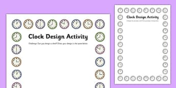 Clock Design Activity Sheet - clock shop, role play, clock, shop, roleplay, design, activity, worksheet